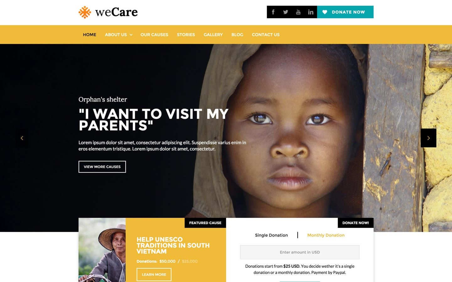 weCare – Charity Website Template
