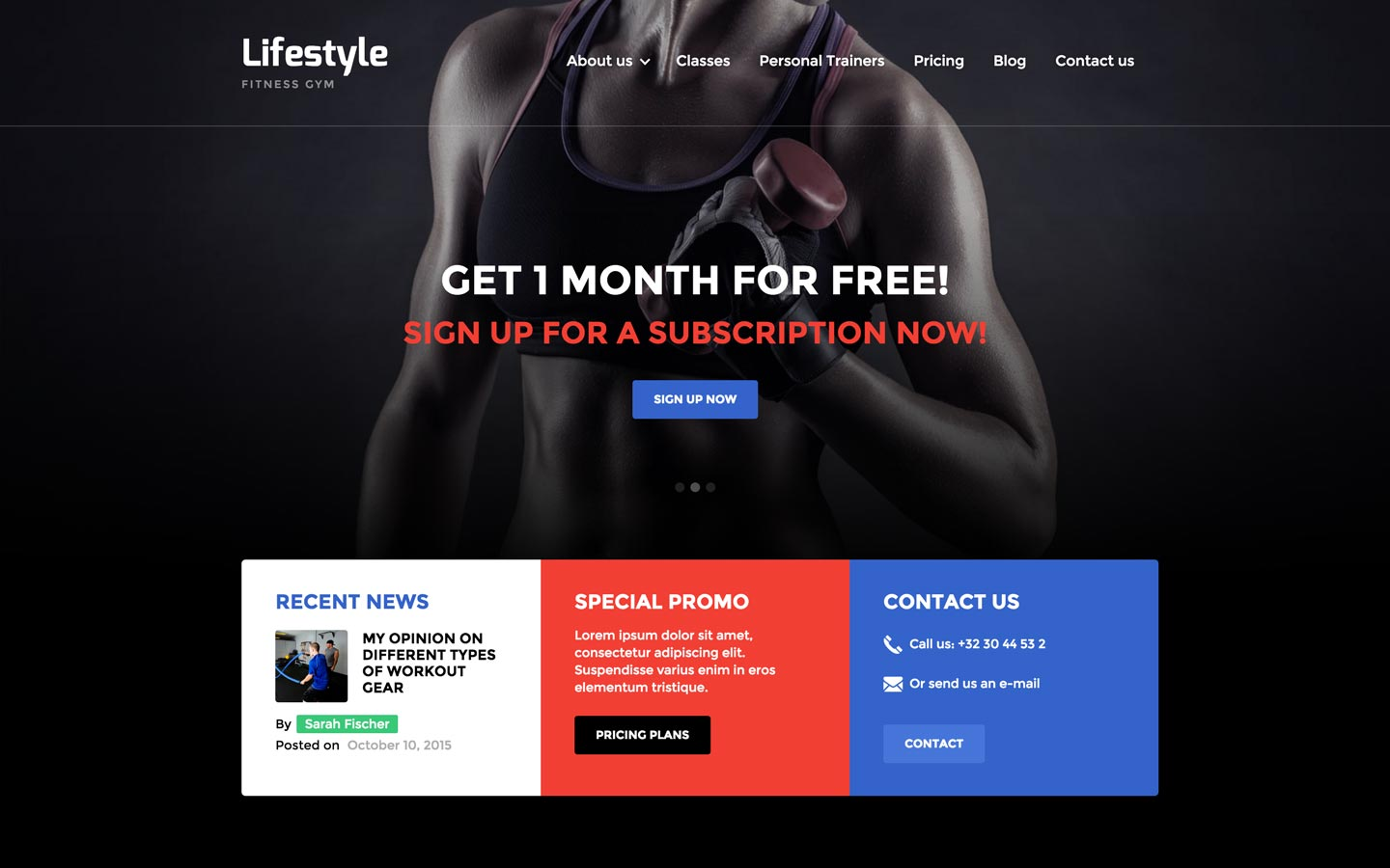 Lifestyle – Gym Website Template