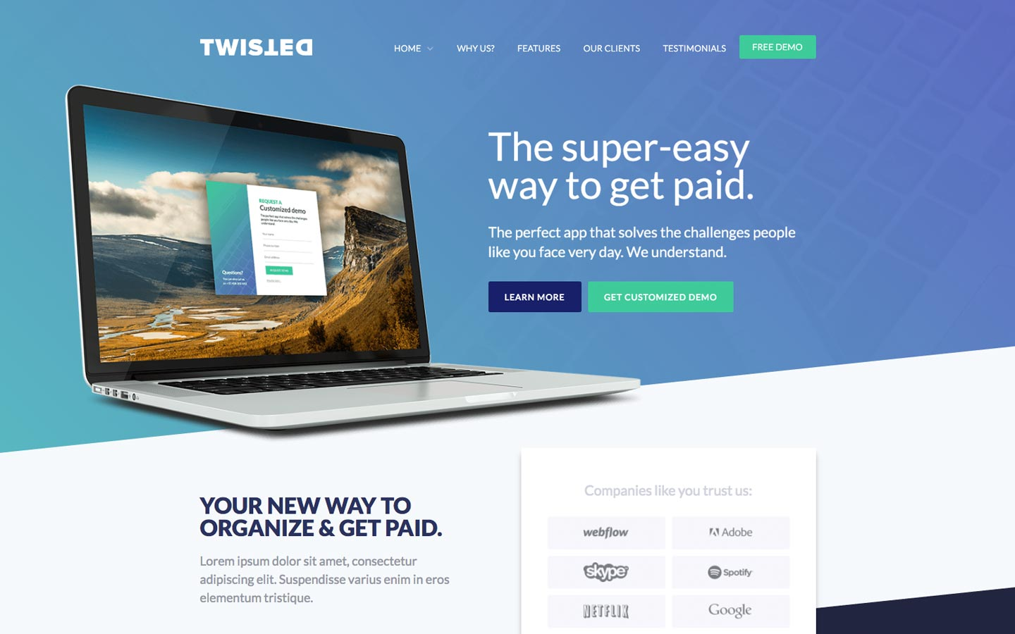 Twisted – One Page Website Template