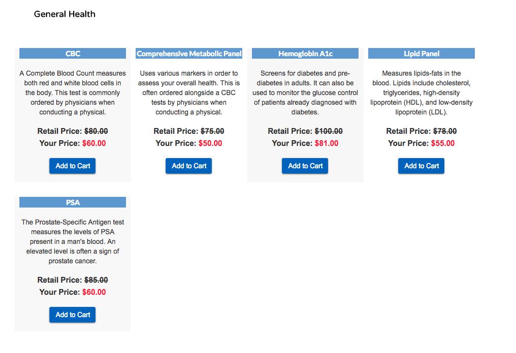mylabfax's custom tests page