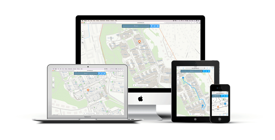 Illustration of multiple devices with MazeMap Indoor Maps