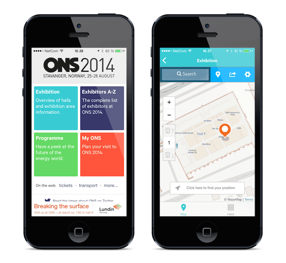 Image of the ONS iPhone application with indoor maps by MazeMap