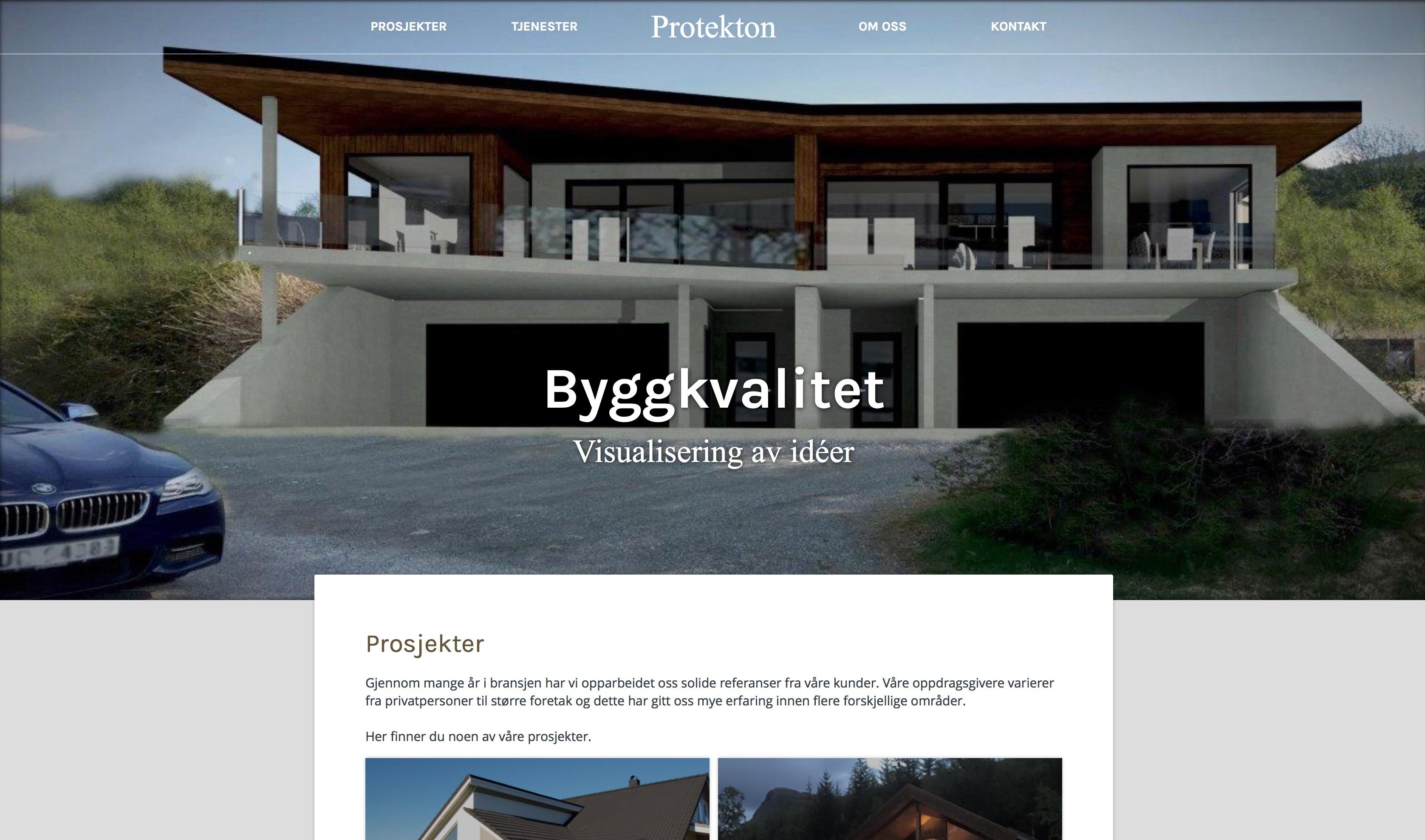 Vi har hatt gleden av å designe ny nettside til Protekton, et kreativt og spennende Vestnes-firma som tilbyr alt fra rådgivning og prosjektering, til utforming og taksering av boliger.