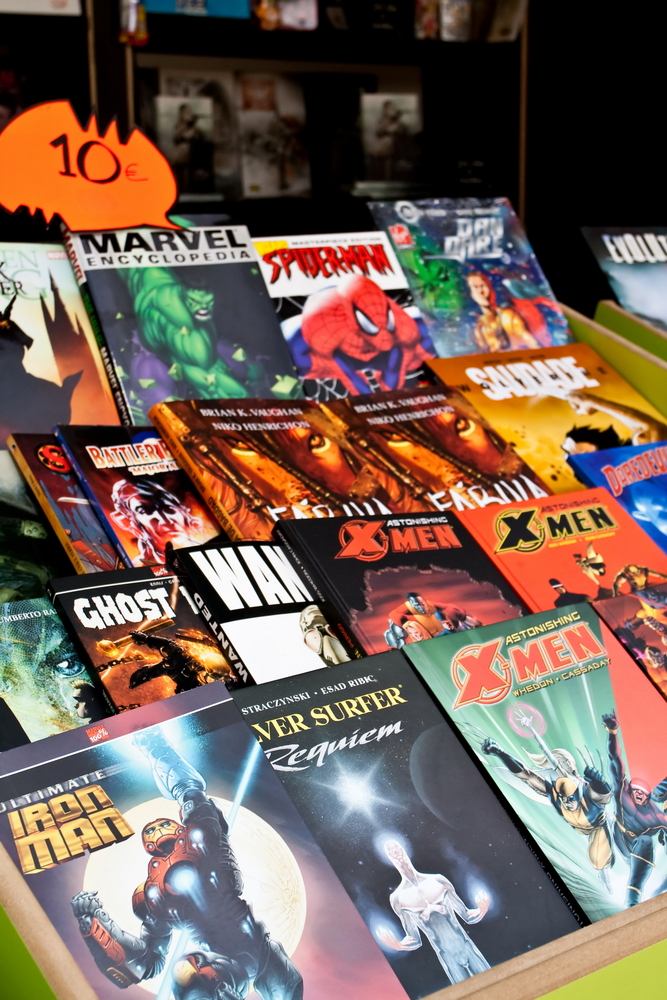 Comic books on display