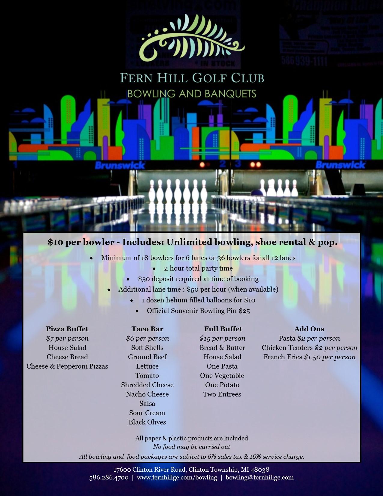 Fern Hill Bowling Menu and Info