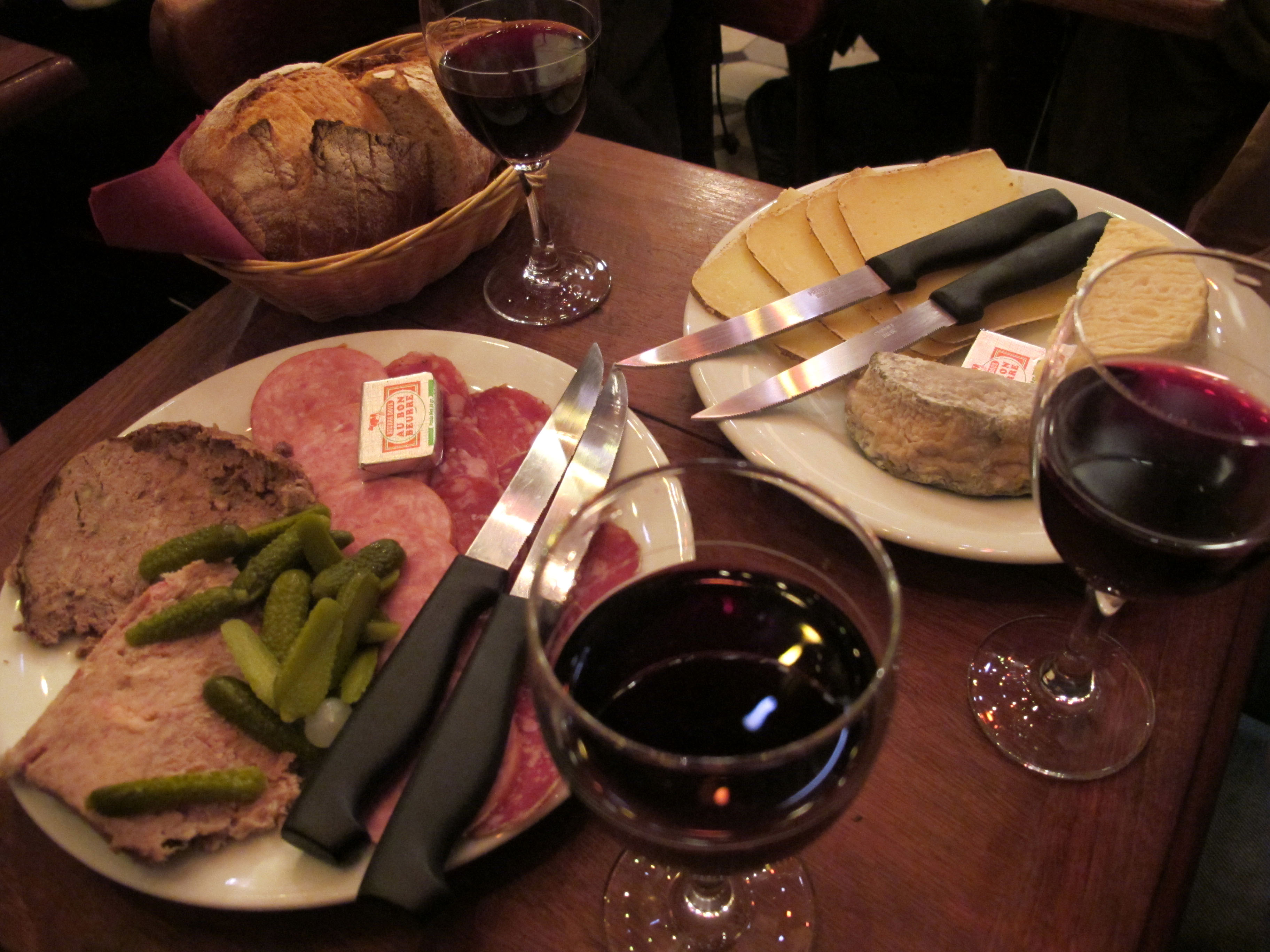 Cheese and charcuterie at Le Baron Rouge, Paris