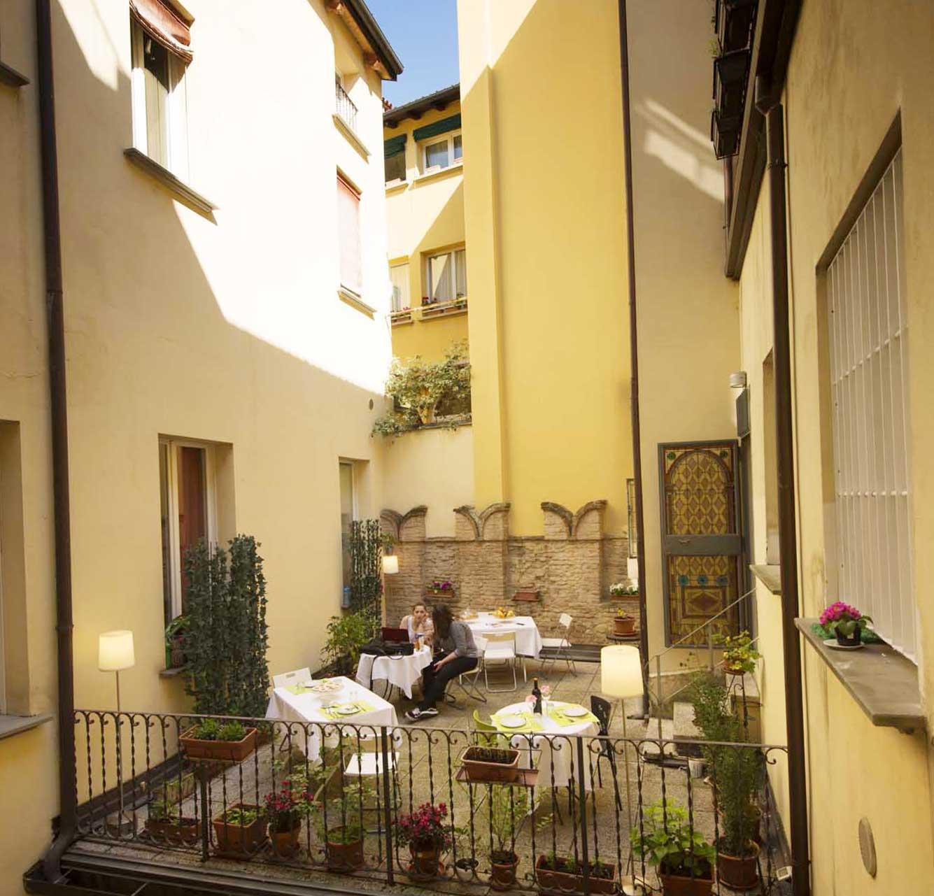 Terrazzo del Bed and Breakfast nel centro di Bologna