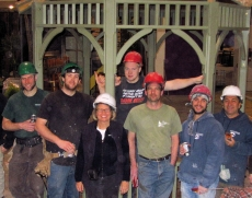 Judith and team during build phase of Canada Blooms 2012