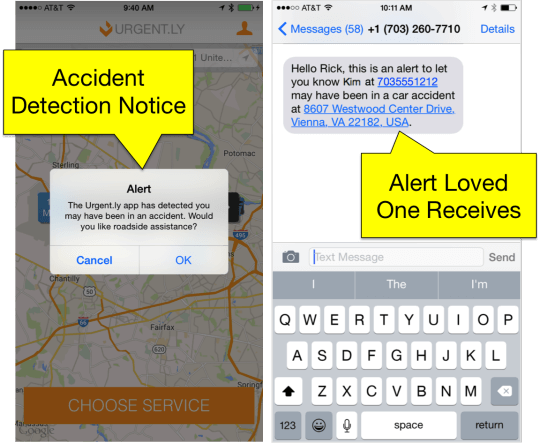 Accident detection screen shot
