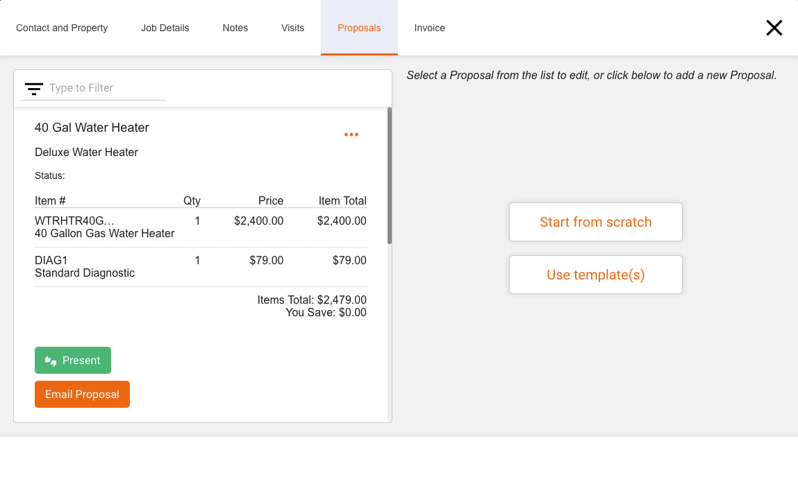 Create and present proposals from custom or imported price books