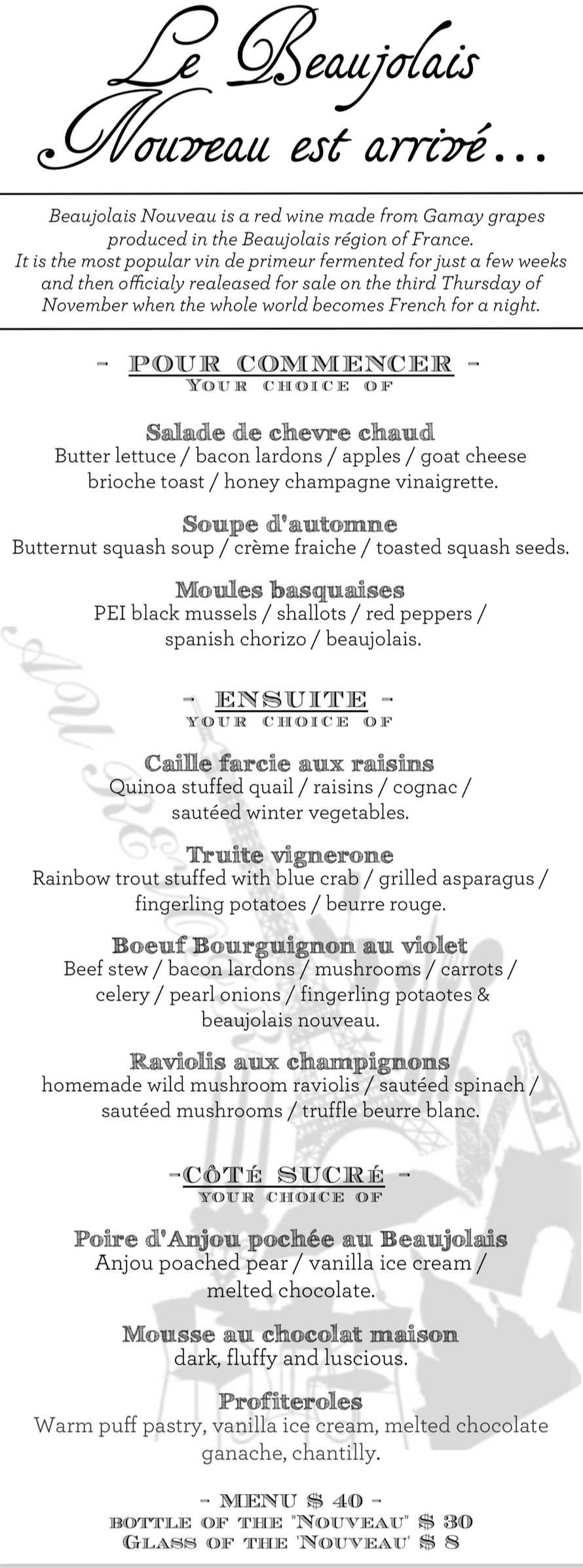 Beaujolais Nouveau 2017 Dinner Menu - Georges Duboeuf.