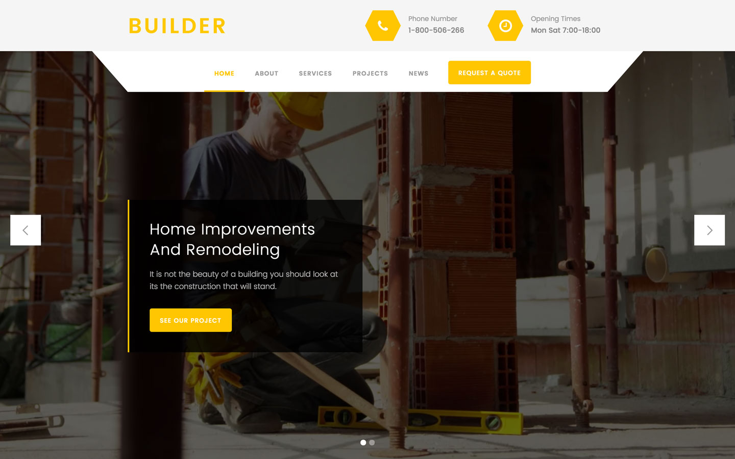 Builder Construction HTML Responsive Website Template - Website template builder