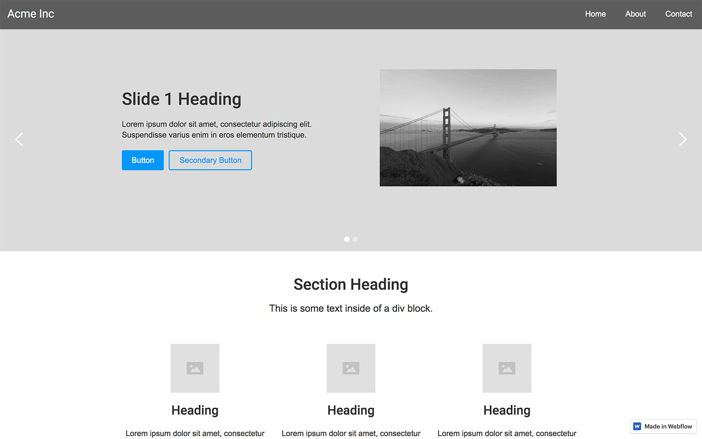 Free html5 templates for responsive websites webflow for Html5 wireframe template