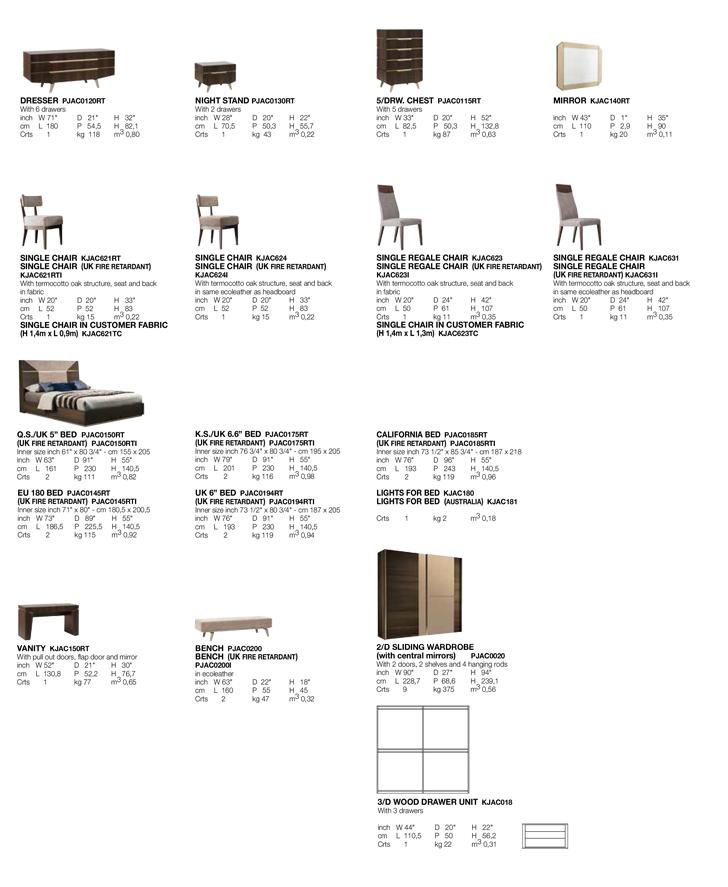 Accademia Bedroom TECHNICAL DATA