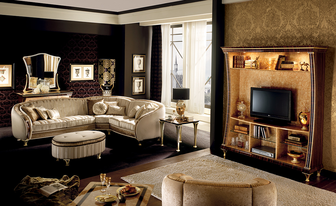 Rossini Living room  corner sofa with wall unit