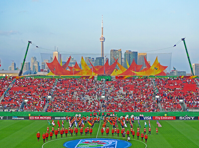 photo of giant Fifa banner Installed using cranes