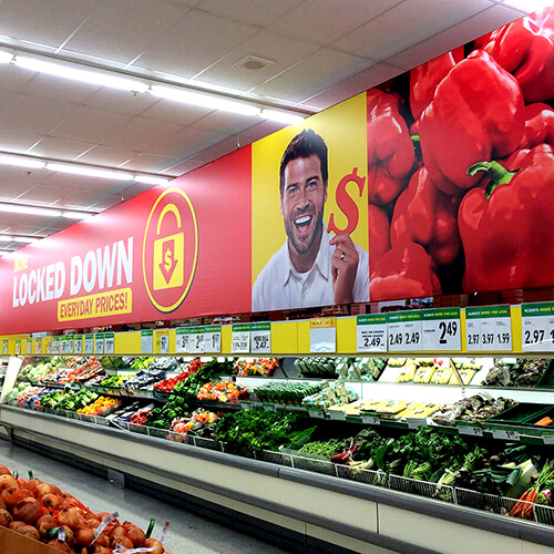 photo of Food Basics huge hanging signs