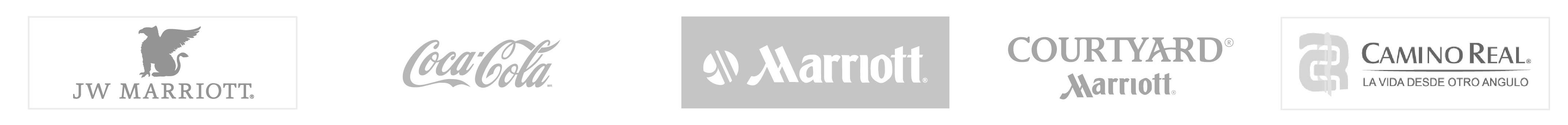 algunos de nuestros clientes jw marriot + Coca cola + Marriott + Courtyard Marriot + Camino real