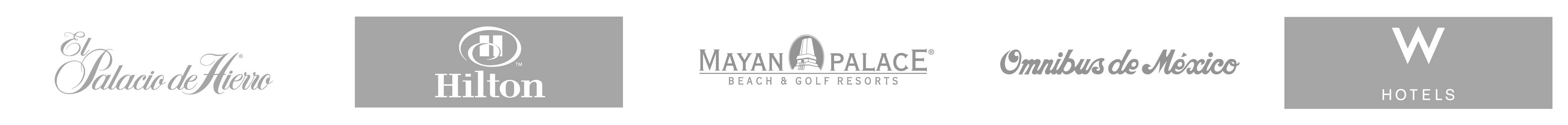 algunos de nuestros clientes palacio de hierro + hilton + mayan palace + omnibus de mexico + w hotels