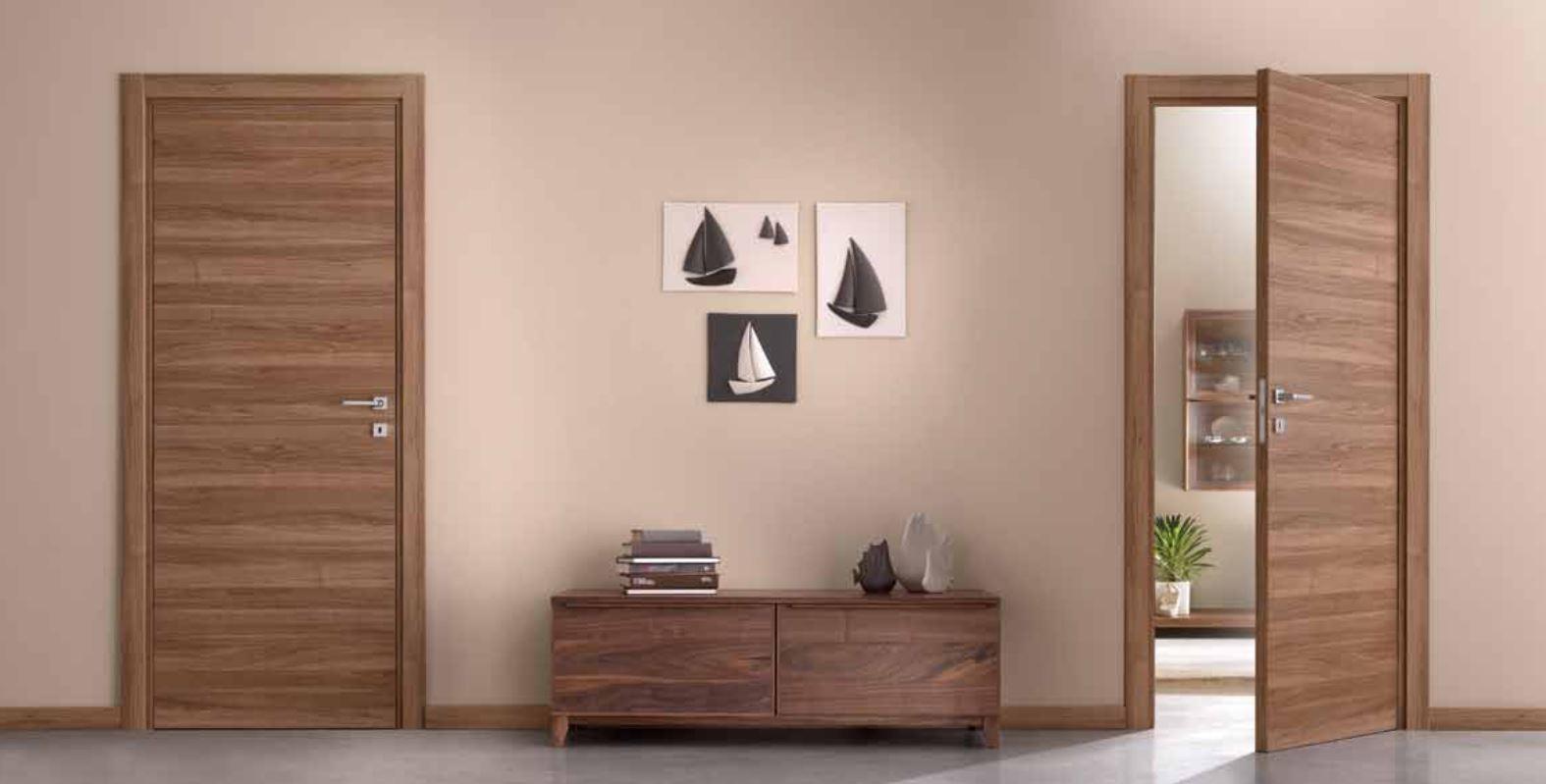Contemporary Wood Internal Doors Modern Horizontal Grain Walnut