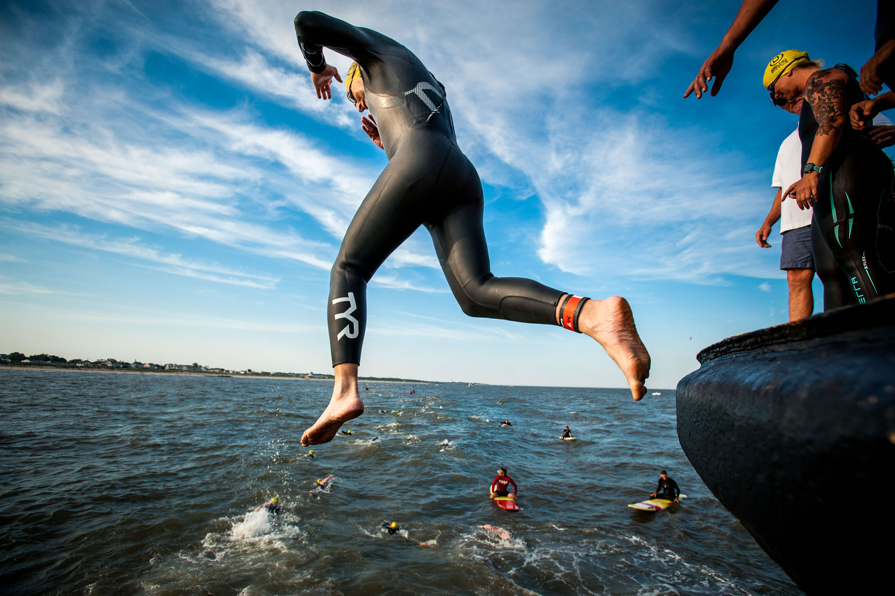 Triathlete boat jump POV - Escape The Cape Triathlon