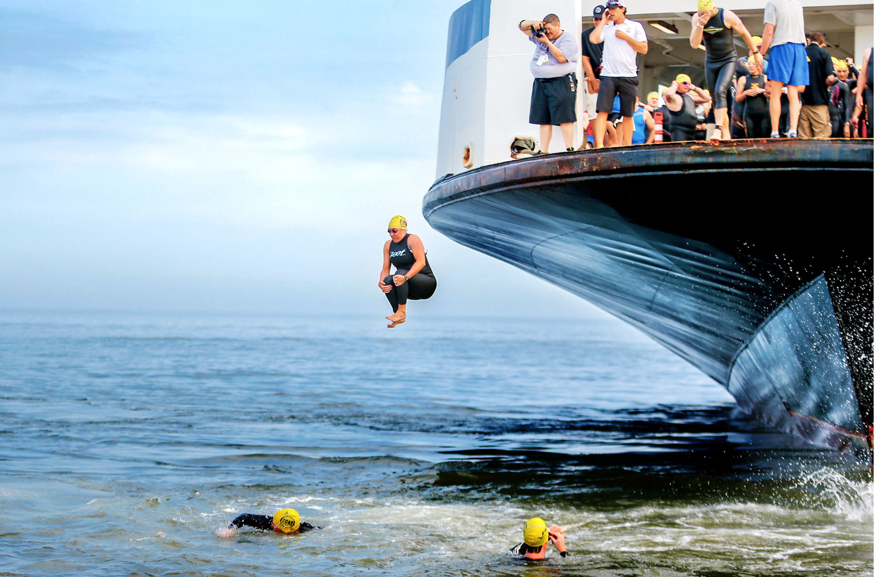 Cannonball  jump - Escape From Lewes Open Water Classic