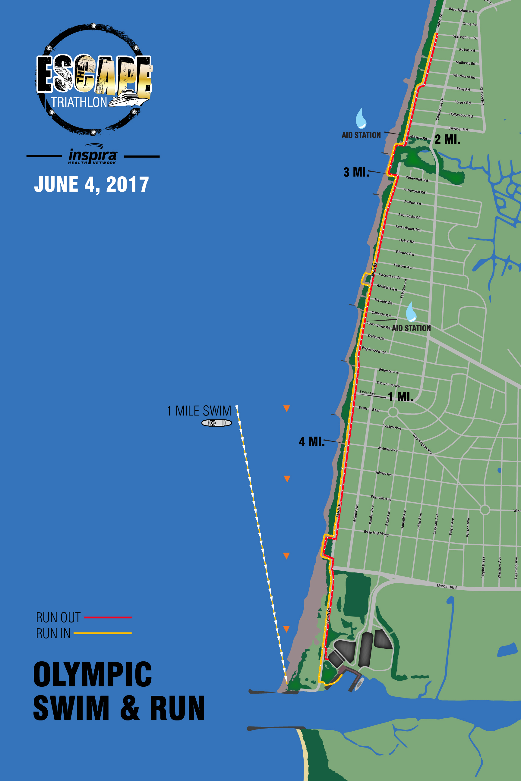 Swim & Run Course Map (Olympic Triathlon)