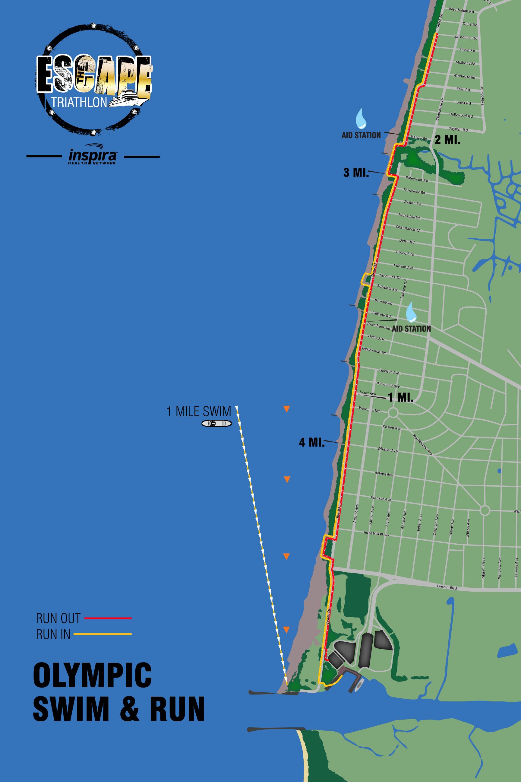 Swim &RunCourse Map (Olympic Triathlon)