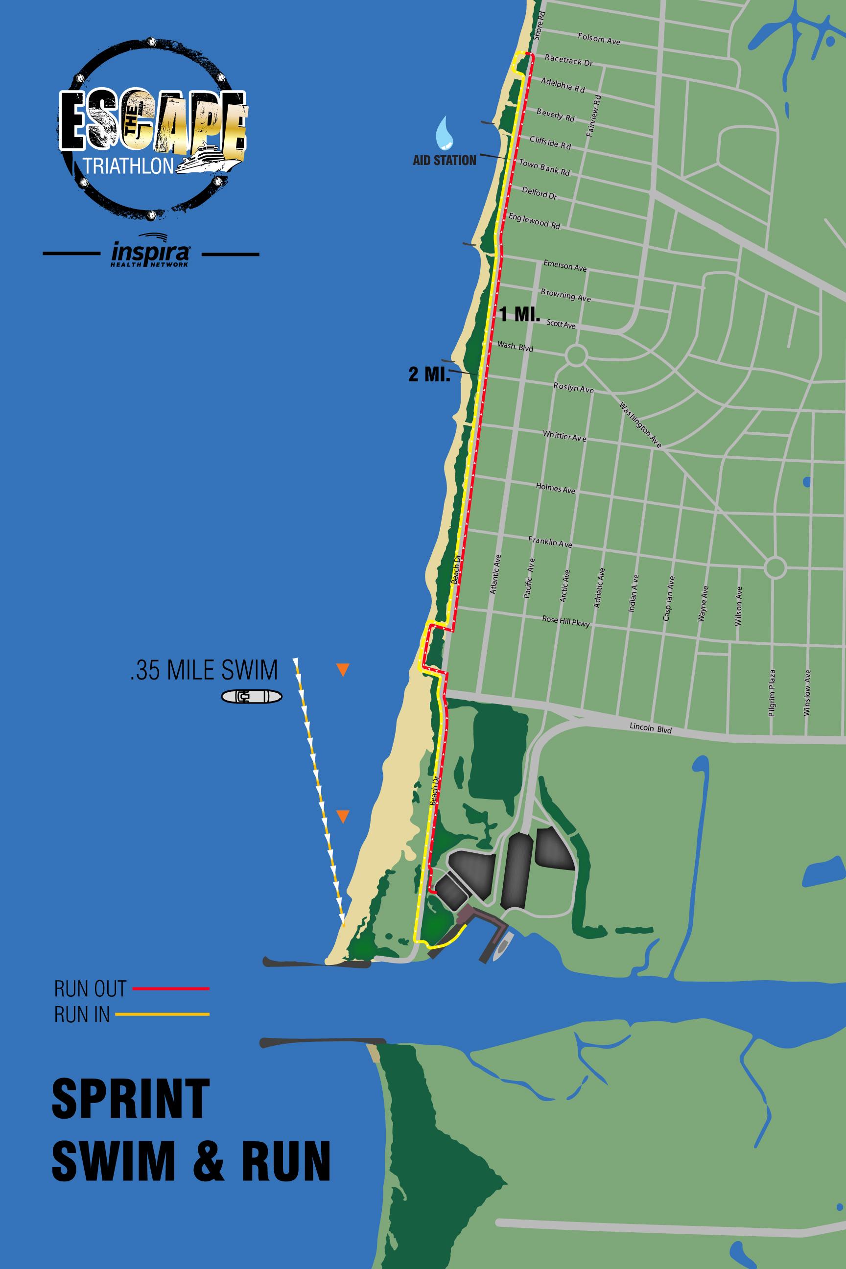 Swim &RunCourse Map (Sprint Triathlon)
