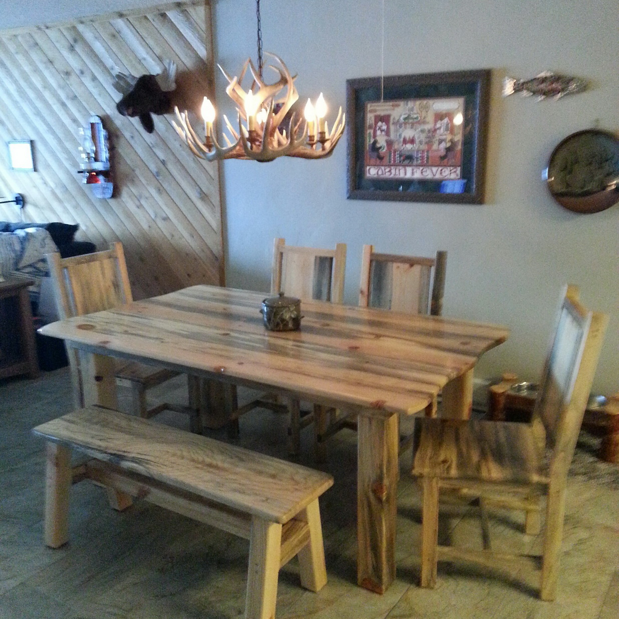 Blue pine dining table
