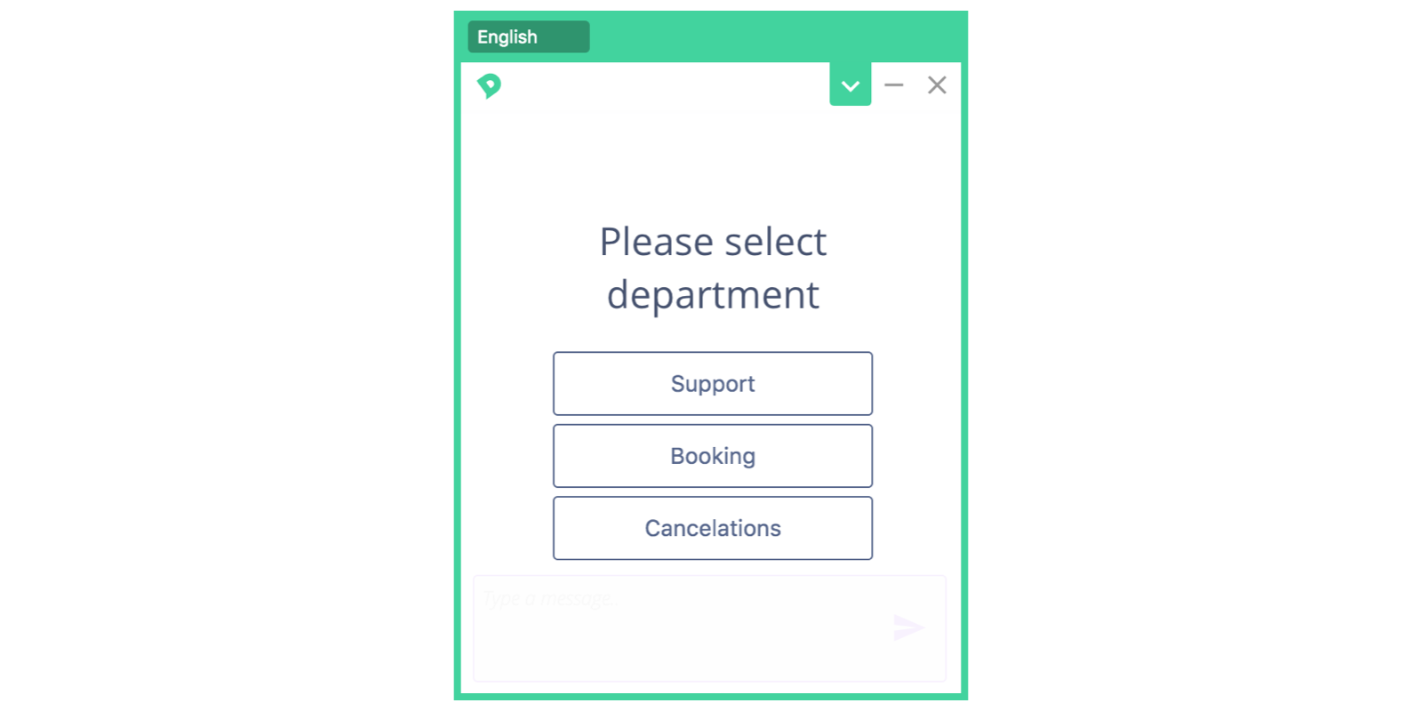 Department selector for chat widget