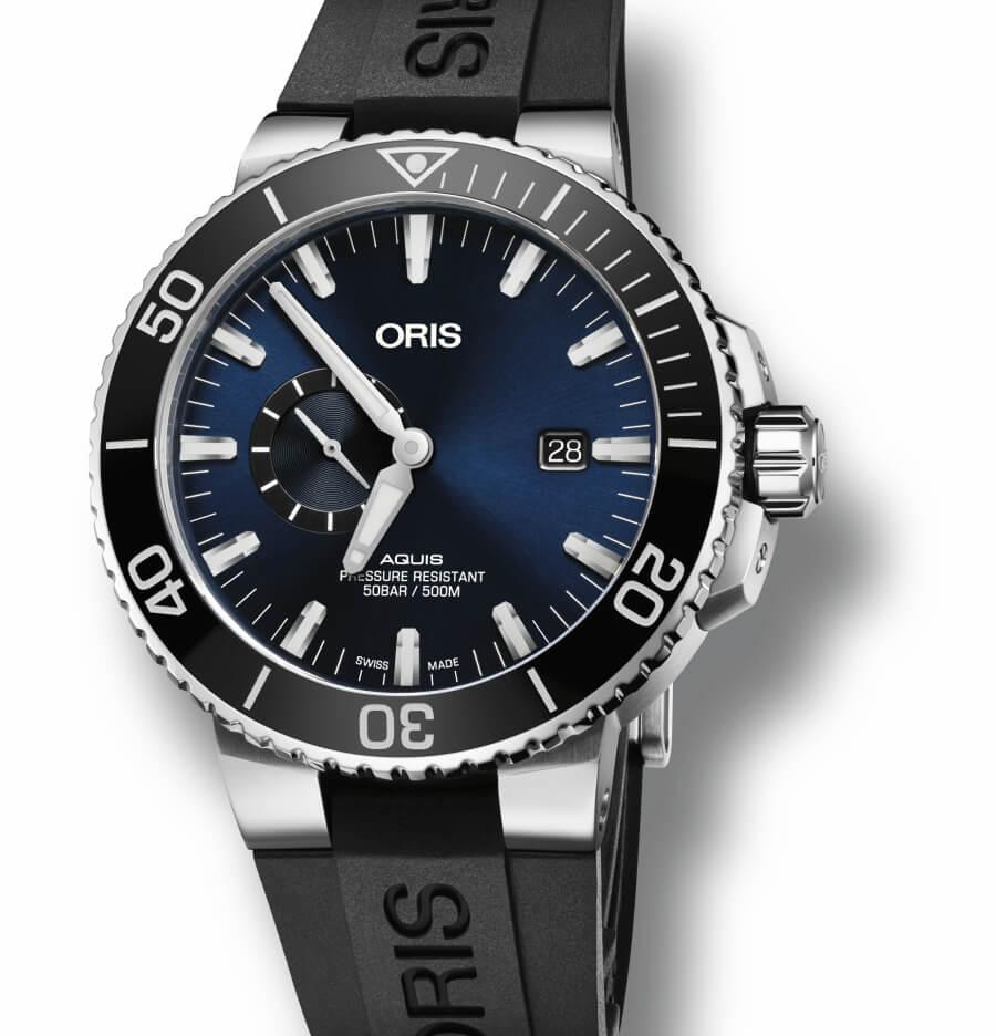 Oris Aquis Small Second, Date Blue Dial