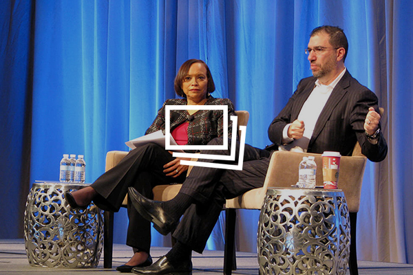 Andy Slavitt, Former Acting Administrator, CMS, talking on stage with Jean Moody-Williams, Deputy Director, Center for Clinical Standards and Quality, CMS