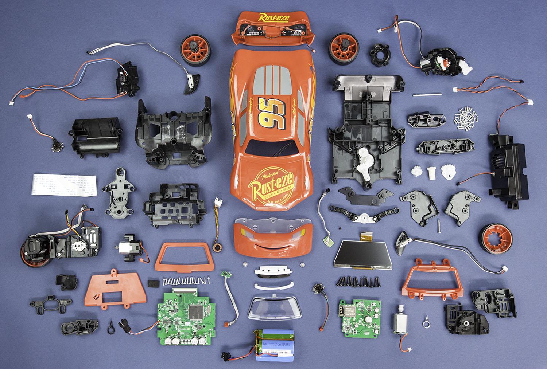 components inside Sphero ultimate lightning mcqueen race car robotic toy from teardown