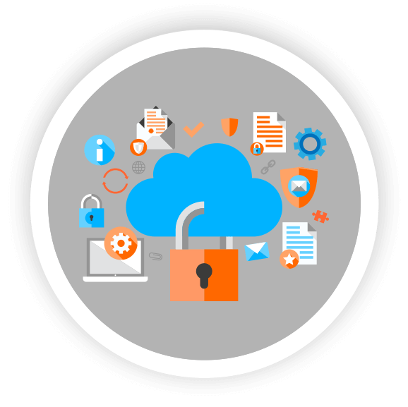 cloud  computing icons with lock, orange and blue gears and puzzle pieces