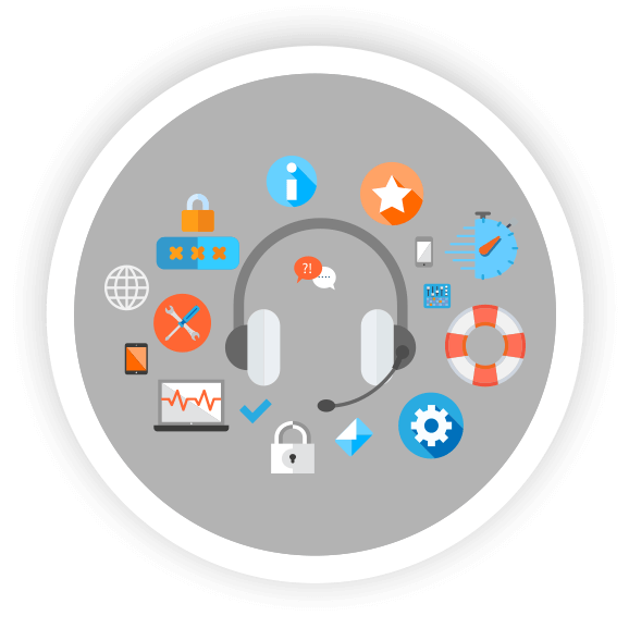 technology support icons with headset