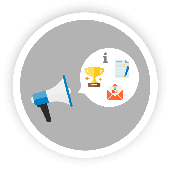 review and testimonial icons with bullhorn