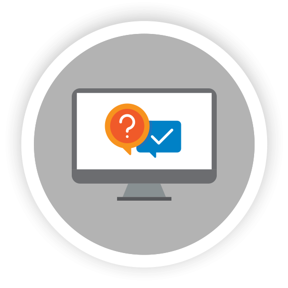 FAQ icons on computer monitor