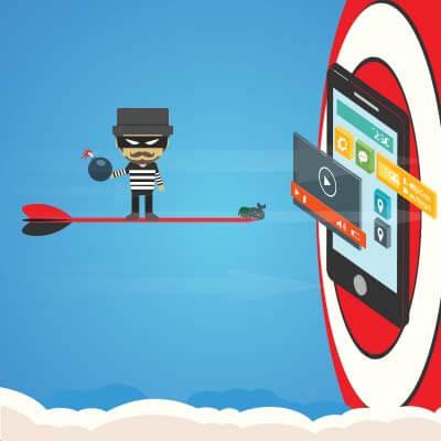 hacker guy on dart targeting mobile device on red bullseye