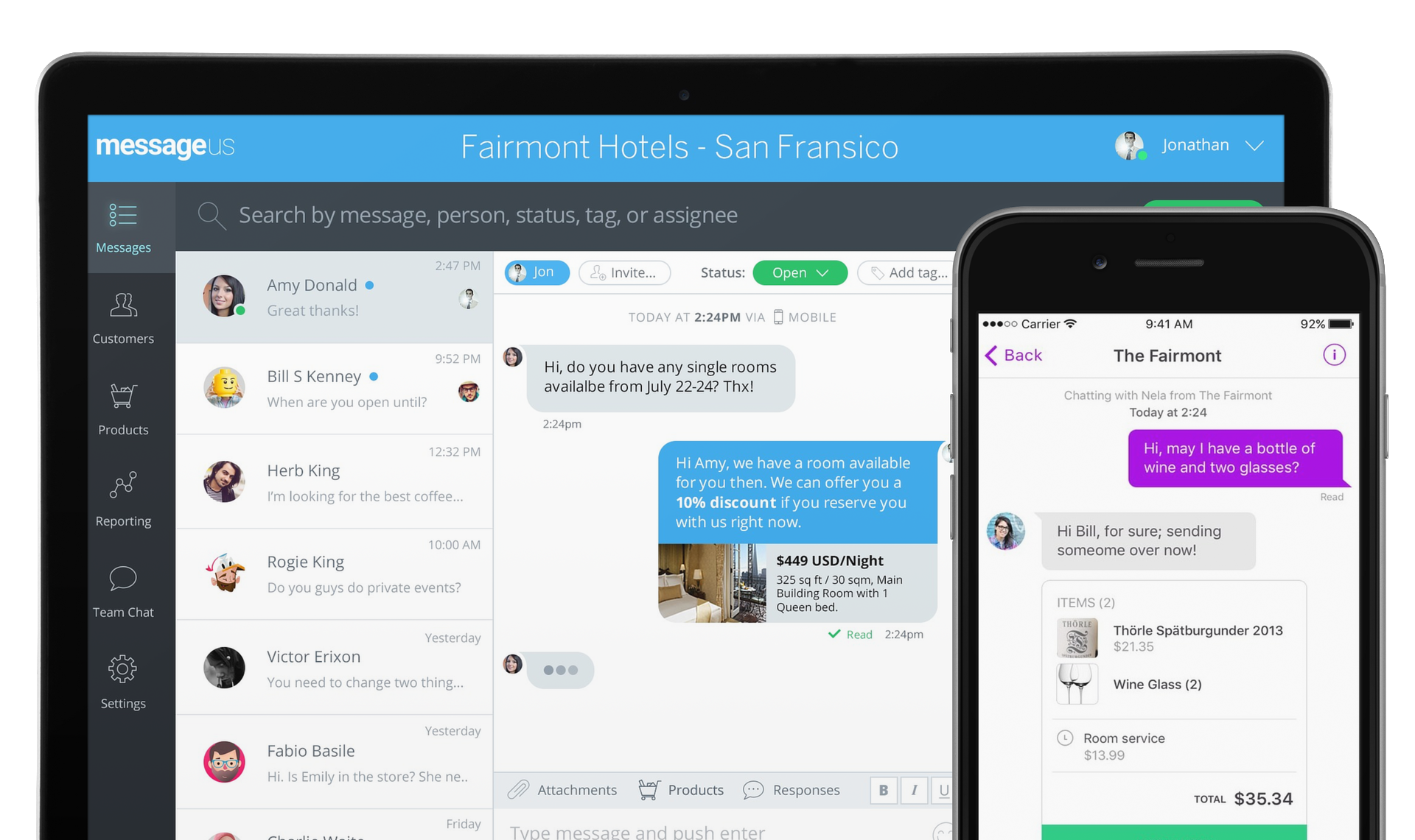 MessageUs Dashboard - Messaging Software For Your Business