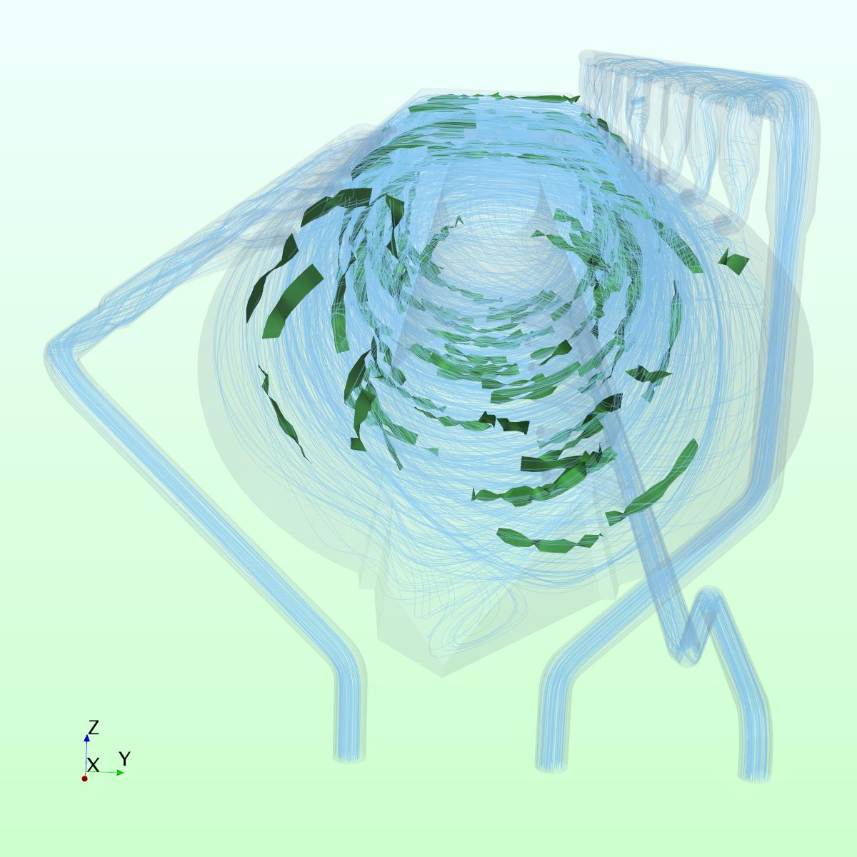 Strömungsverhalten in einer Spinat-Waschanlage