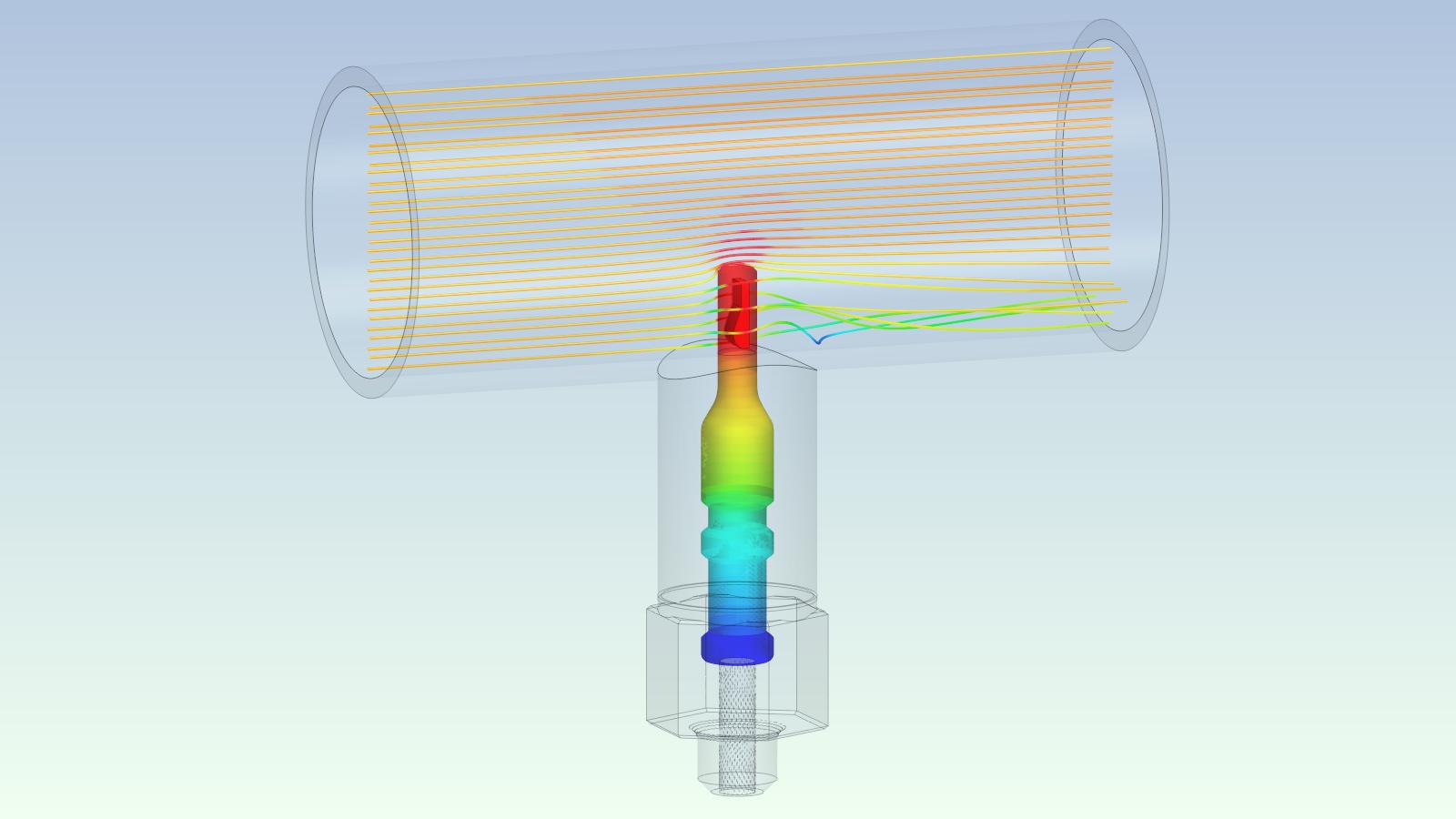 Temperatur-Simulation eines Sensors in der zu messenden Strömung