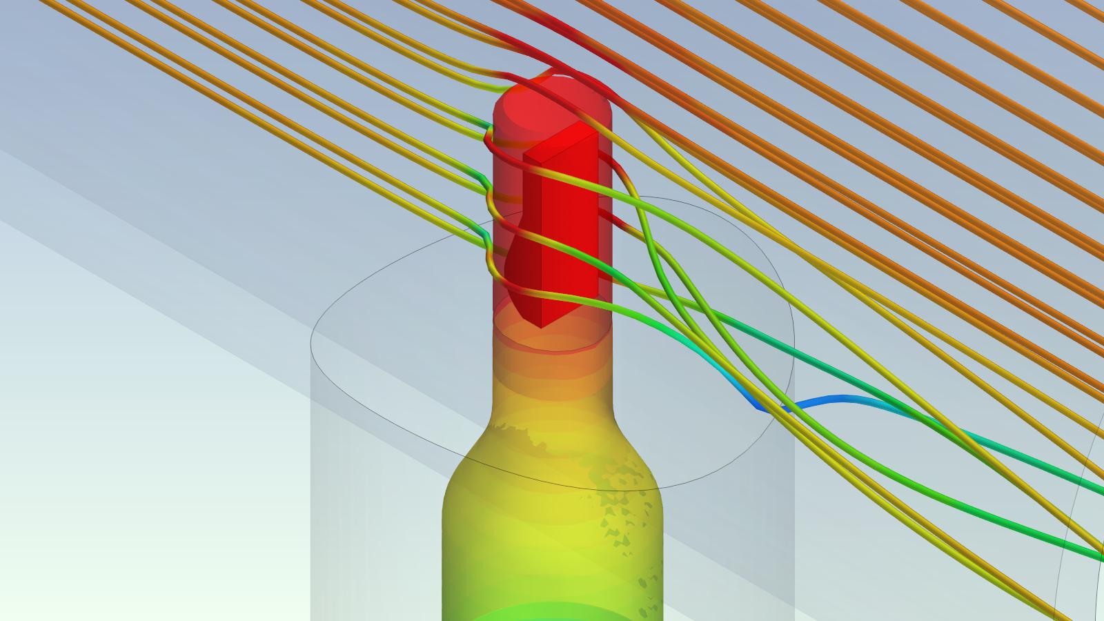 Detailansicht des Sensorkopfs in der Strömung