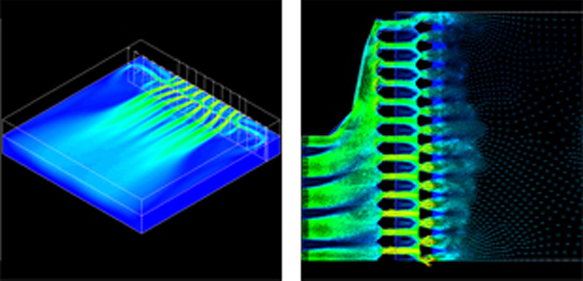 Strömungssimulation eines Einzelbeckens und des Zulaufsystems eines Klärbeckens