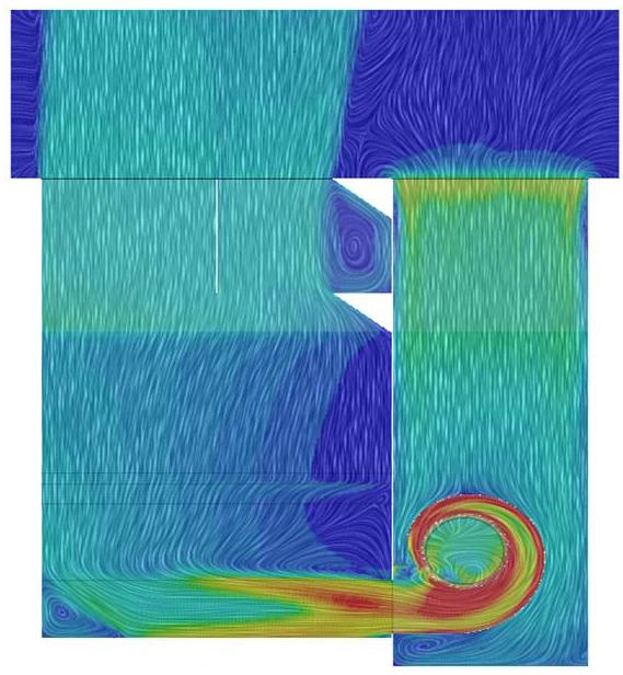 Simulation der Strömung im Kühlturm