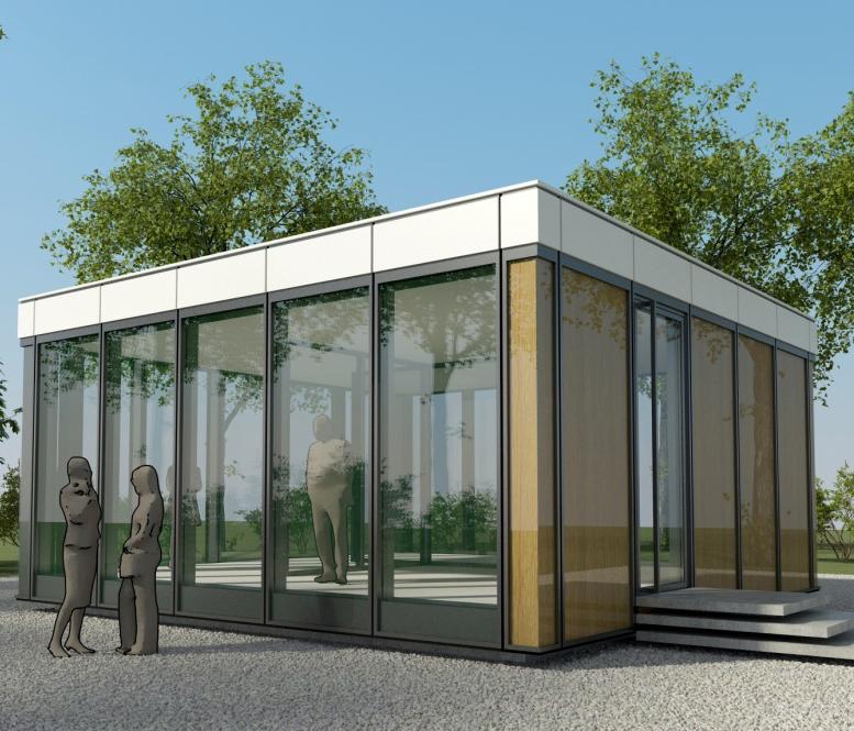 Pavillon mit InDeWaG Fassade u. Innenwandelement