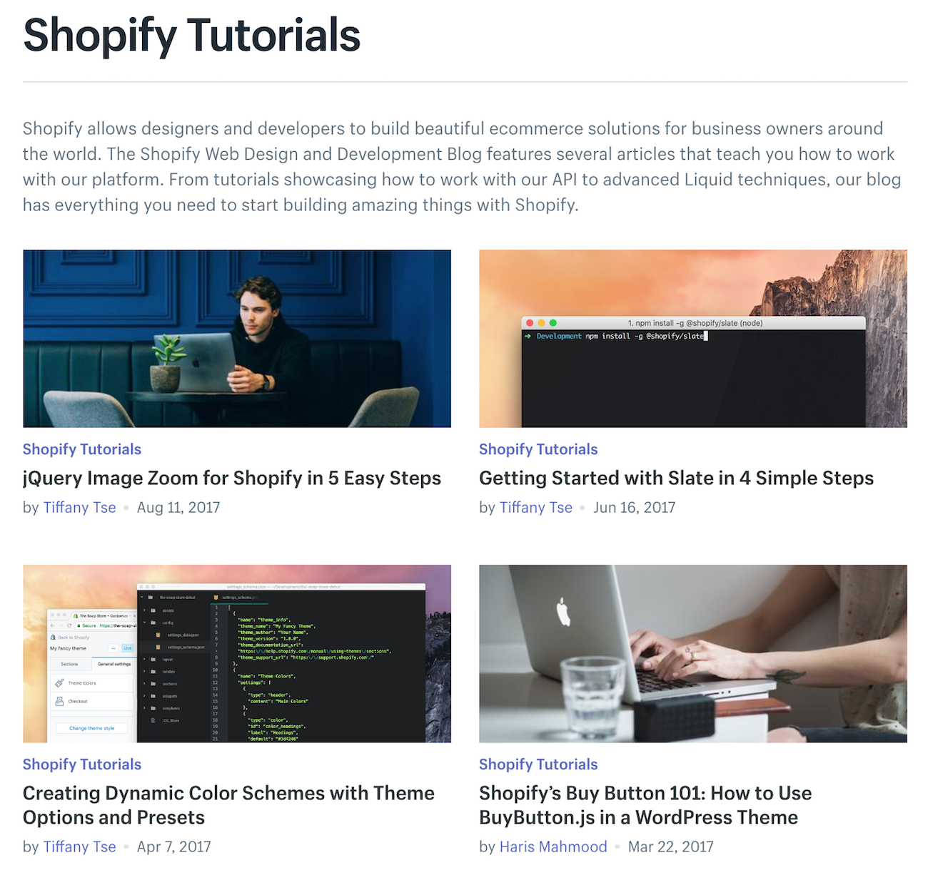 Shopify Tutorials Page
