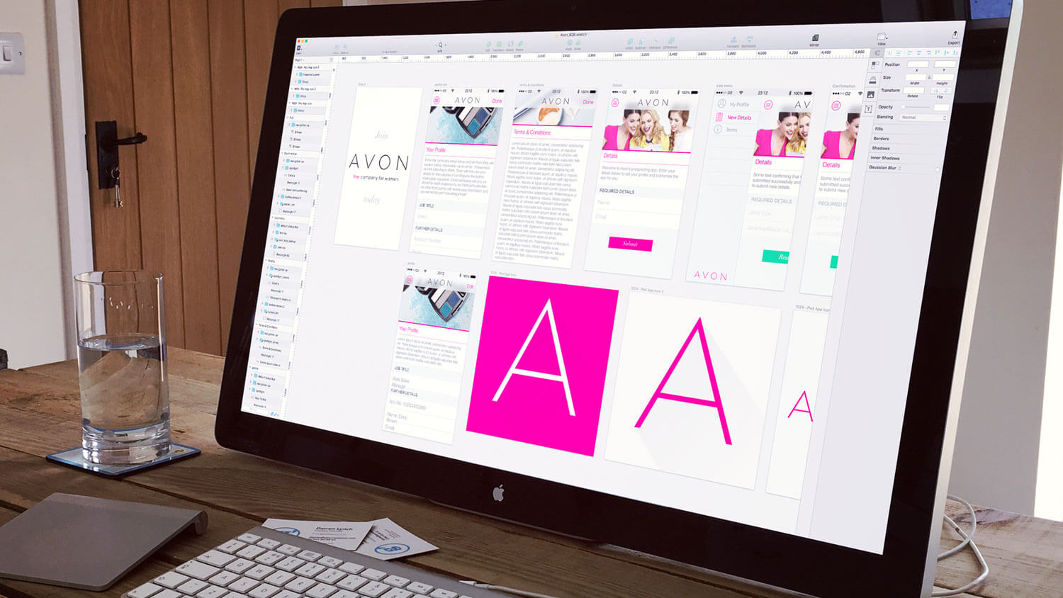 Screen layouts for the AVON corporate recruitment app