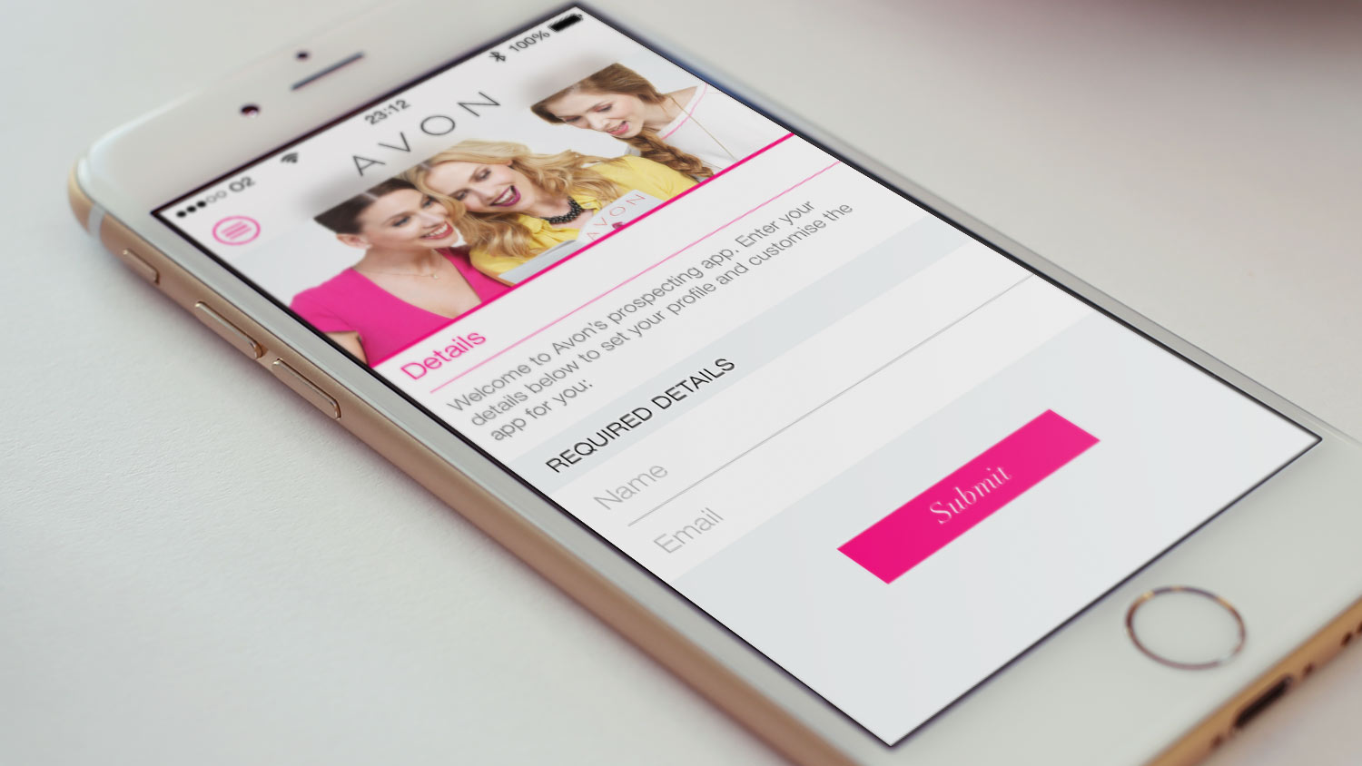 AVON corporate recruitment mobile app, shown on an iPhone