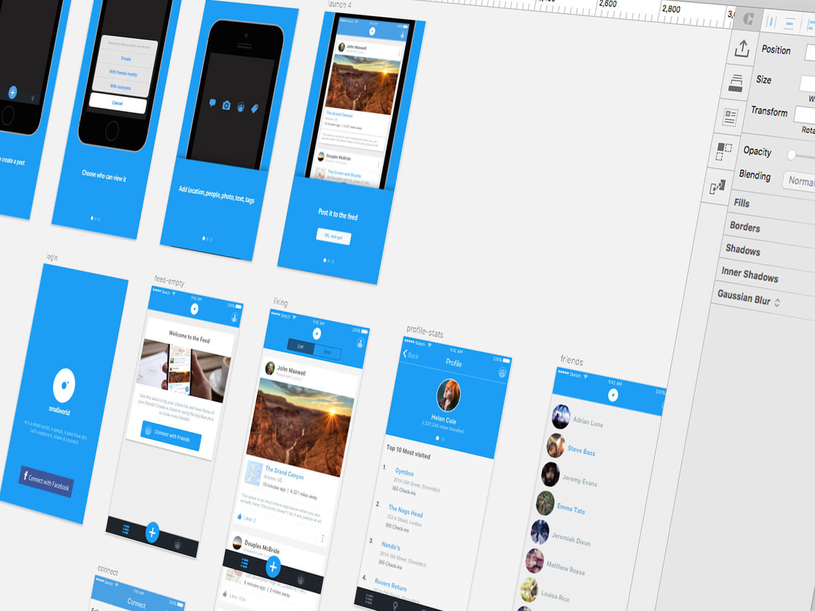 Sketch App layouts for SmallWorld mobile app UI/UX